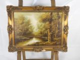 Gilt Framed Canvas - Woodland Scene